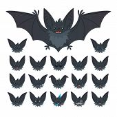 Hallowen Character Emoticon Set. Vector Illustration Of Cute Flying Grey Bat Vampire And It S Bat-ea poster