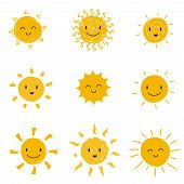 Cute Happy Sun With Smiley Face. Summer Sunshine Vector Set Isolated. Face Smile Sun, Cartoon Yellow poster