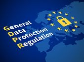 Gdpr General Data Protection Regulation. Eu Computer Safeguard Regulations And Data Encryption Vecto poster