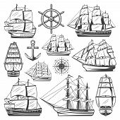 Vintage Big Ships Collection With Different Vessels Boats Steering Wheel Anchor And Navigational Com poster