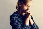 Caucasian woman prayer faith in christianity religion poster