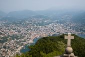 pic of salvatore  - View of Lugano from San Salvatore mountain with a cross in front - JPG