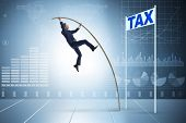 Businessman jumping over tax in tax evasion avoidance concept poster