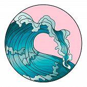 Decorative Hand Drawn Line Art. Logo Ocean Wave. Vector Sea Emblem. Sea, Ocean, Water, Big Wave. poster