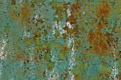 Old Metal Wall Background.cracked Green Paint On An Old Metallic Surface, Rusted Green Painted Metal poster