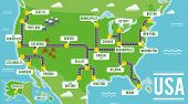 Cartoon Vector Map Of Usa. Travel Illustration With American Main Cities. poster