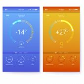 Ui Of Mobile App Page Of Weather. Summer And Winter Layout For Mobile Apps. Gui Design For Responsiv poster