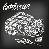 Food Meat, Steak, Roast Set, Calligraphic Text, Hand Drawn Vector Illustration Realistic Sketch, , D poster