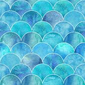 Fish Scale Ocean Wave Japanese Seamless Pattern. Watercolor Hand Drawn Blue Teal Turquoise Textured  poster