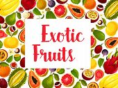 Exotic Fruit Poster With Frame Of Fresh Tropical Fruits. Orange, Papaya And Mango, Durian, Feijoa An poster