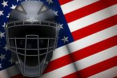 Poster Of Catcher Mask Helmet On American Flag Backgound. Baseball And Softball Games. Sport Equipme poster