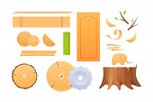 Woodworking Industry, Materials For Wood Industry, Set Logs For Timber Industry, Knots, Stumps, Boar poster