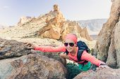 Woman Hiker Reached Mountain Top. Runner Or Climber Walking And Looking At Inspirational Landscape O poster