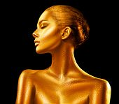 Fashion art Golden skin Woman face portrait closeup. Model girl with holiday golden Glamour shiny pr poster