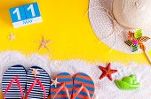 May 11th. Image Of May 11 Calendar With Summer Beach Accessories. Spring Like Summer Vacation Concep poster