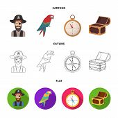 Pirate, Bandit, Hat, Bandage .pirates Set Collection Icons In Cartoon, Outline, Flat Style Vector Sy poster