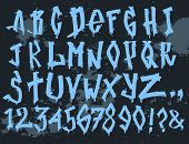 Hand Drawn Grunge Font Paint Symbol Design Detailed Vector Alphabet Graffiti Text Brush Graphic Ink. poster