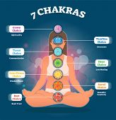 7 Chakra Meanings, Vector Illustration Diagram With Woman Sitting In Lotus Pose. All Chakra Colors A poster