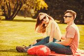 Love Romance Leisure Relax Valentines Concept. Young Couple On Picnic. Girlfriend And Boyfriend Show poster