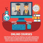 Flat Online Courses Graduates Vector Concept. Graduation With Internet Study Illustration poster