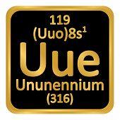 Periodic Table Element Ununennium Icon On White Background. Vector Illustration. poster