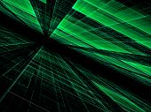 Technology Perspective Background - Abstract Computer-generated Image. Surface With Chaos Grid. High poster