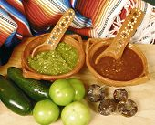 stock photo of mexican food  - Mexican hot sauces with chile and green tomato - JPG