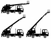Silhouette Of Aerial Platform Truck. Heavy Construction Machine. Heavy Equipment And Machinery. Vect poster