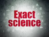 Science Concept: Painted Red Text Exact Science On Digital Data Paper Background With  Hand Drawn Sc poster