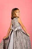 Look, Hairdresser, Makeup. Child Girl In Stylish Glamour Dress, Elegance. Little Girl In Fashionable poster