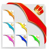 stock photo of corbel  - illustration set ribbon angular with gold crown - JPG