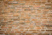 Red Brick Wall Texture Grunge Background With Vignetted Corners, May Use To Interior Design And Copy poster