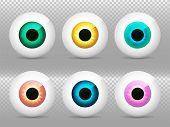 Eye. Realistic 3d Eyeball Vector Illustration. Real Human Iris,pupil And Eye Sphere. Icon On Transpa poster