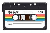 Cassette With Retro Label As Vintage Object For 80s Revival Mix Tape Design, Party Poster Or Cover.  poster