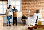 Couple moving into new house poster