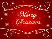 picture of merry christmas  - 3d golden text with words Merry Christmas and gold snowflakes over red background - JPG
