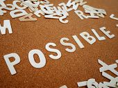 possible Writing With Wooden Letter On Wood Board Background poster