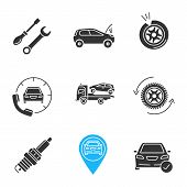 Auto Workshop Glyph Icons Set. Screwdriver And Spanner, Broken Car, Punctured Tire, Assistance, Tow  poster
