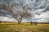 A Lone Cannon Sitting On A Civil War Battlefield In Virginia. poster