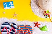 May 14th. Image Of May 14 Calendar With Summer Beach Accessories. Spring Like Summer Vacation Concep poster