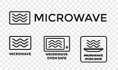 Microwave Oven Safe Icon Templates Set. Vector Isolated Line Symbols Or Labels For Plastic Dish Food poster