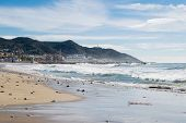 The Beautiful Town Of Sitges,  Landscape Of The Coastline In Sitges, High Tide poster