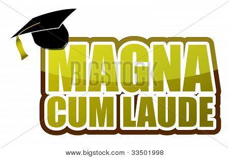 Magna cum laude graduation sign illustration design