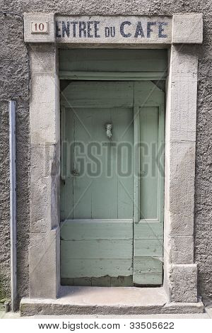 French cafe entrance door