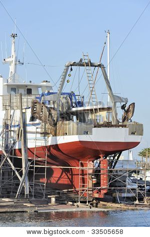 Commercial fishing boat in dry dock
