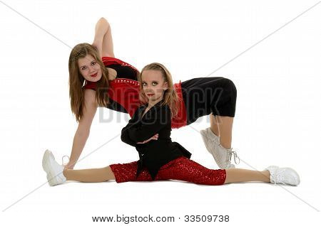 Hip Hop Duo Posing In Red