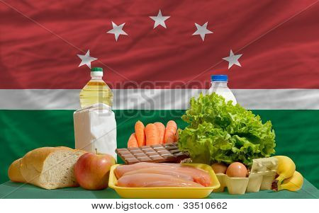 Basic Food Groceries In Front Of Maghreb National Flag