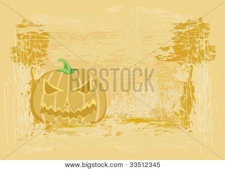 broken halloween pumpkin on grunge background vector illustration