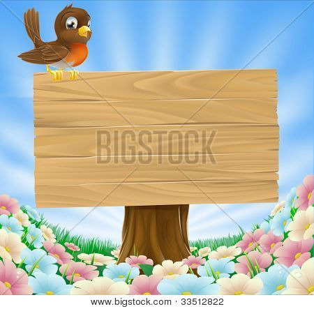 Bird On Wooden Sign Background