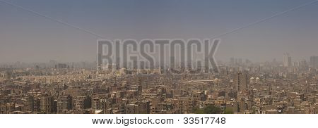 Panaramic View Of Cairo On A Smoggy Day